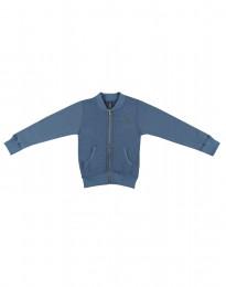 Reißverschlussjacke aus Wollfrottee für Kinder taubenblau