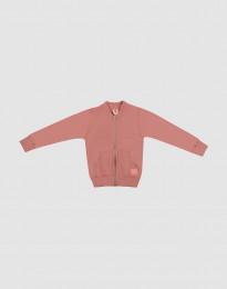 Reißverschluss Jacke für Kinder aus Wollfrottee Dunkelrosa