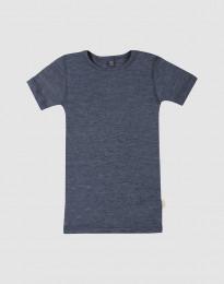 Kinder T-Shirt aus Wolle-Seide Blau meliert