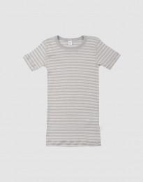 Kinder T-Shirt aus Bio Wolle-Seide grau/natur
