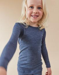 Langarmshirt für Kinder aus Bio Wolle und Seide blau meliert