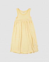 Ärmelloses Kleid aus Bio Wolle und Seide Hellgelb/Natur