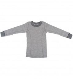 Merino Langarmshirt für Kinder grau melange