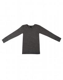 Kinder Shirt aus Bio Merinowolle dunkelgrau meliert