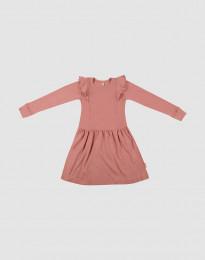 Wollkleid mit Rüschen für Kinder Dunkelrosa