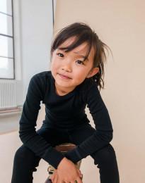 Kinder Shirt aus BIO Merinowolle schwarz