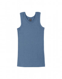 Kinder Unterhemd in breitem Rippstrick taubenblau