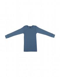 Kinder Shirt in breitem Rippstrick taubenblau