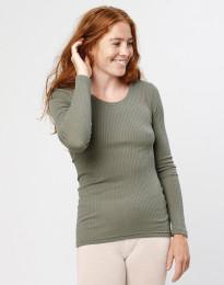 Merino Rippshirt für Damen Olivgrün