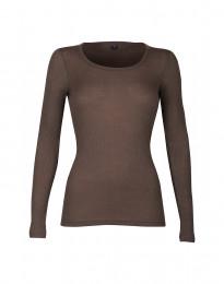 Merino Rippshirt mit langen Ärmeln für Damen fudge
