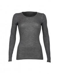 Merino Rippshirt für Damen dunkelgrau meliert