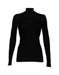 Merino Rippshirt mit Stehkragen schwarz