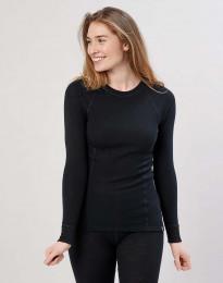 Merino Langarmshirt mit hohem Ausschnitt schwarz