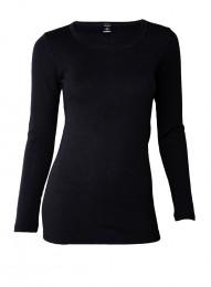 Merino Langarmshirt Damen schwarz