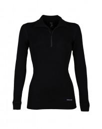 Merino Langarmshirt Damen mit hohem Kragen und Reißverschluss schwarz