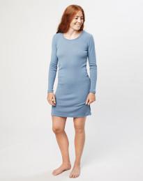 Langärmliges Nachthemd aus Merinowolle Blau