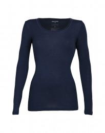 Langarmshirt für Damen - BIO Merinowolle blau