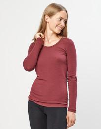 Langarmshirt Damen- 100% Bio Merinowolle rouge