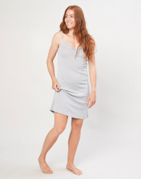 Damen Nachthemd aus Bio Wolle und Seide grau