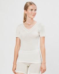 Damen T-Shirt aus Wolle/ Seide natur