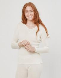 Damen Langarm Shirt aus Wolle/ Seide natur
