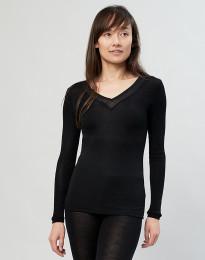 Longsleeve Damen aus Wolle/ Seide schwarz