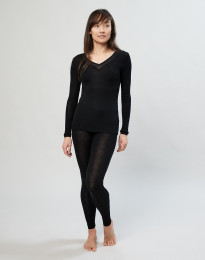 Damen Leggings aus Wolle/ Seide schwarz