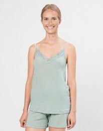 Damen Trägertop mit Spitze aus natürlicher Wolle/ Seide pastellgrün