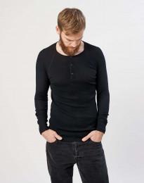Ripp Pullover Herren Merinowolle schwarz