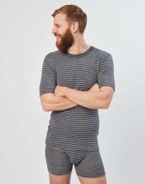 Herren Merino T-Shirt Grau gestreift