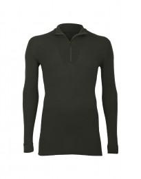 Merino Shirt mit Reißverschluss für Herren dunkelgrün