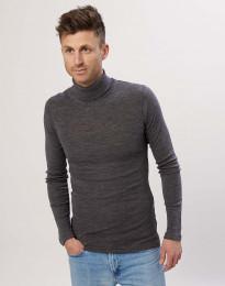 Herren Rollkragen Shirt aus Merinowolle Graumeliert