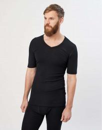 Merino Halbarmshirt mit V-Ausschnitt schwarz