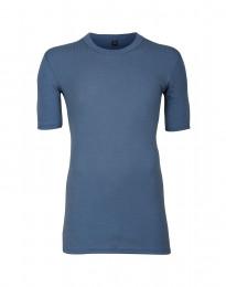 Merino T-Shirt für Herren aus breitem Ripp taubenblau