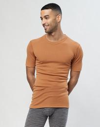 Herren Merino T-Shirt in Rippstrick Karamell