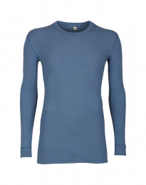 Herren Langarmshirt aus Rippstrick taubenblau