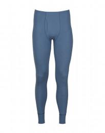 Lange Merino Unterhose mit Eingriff aus Rippstrick taubenblau