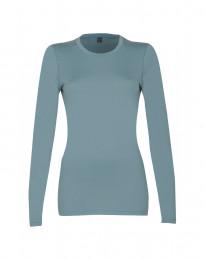 Langarmshirt Damen - exklusive Merinowolle mineralblau
