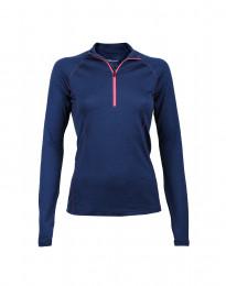 Exklusives Merino Reißverschluss Shirt Damen dunkelblau