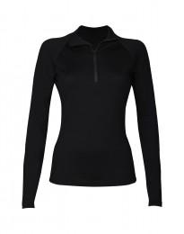 Reißverschluss-Shirt für Damen - exklusive Merinowolle schwarz