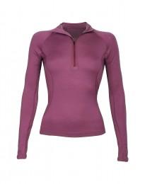 Reißverschluss-Shirt für Damen - exklusive Merinowolle lila