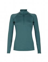 Reißverschluss Shirt - exklusive Merinowolle aquagrün