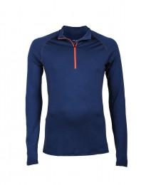 Exklusives Merino Shirt mit Reißverschluss für Herren dunkelblau