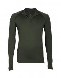 Exklusives Merino Shirt mit Reißverschluss für Herren Grün