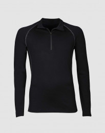 Exklusives Merino Shirt mit Reißverschluss schwarz