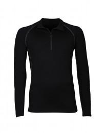 Exklusives Merino Shirt mit Reißverschluss für Herren schwarz