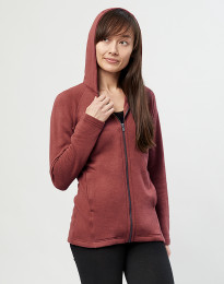 Damen Kapuzenjacke aus Wollfrottee Rouge