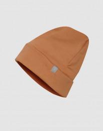 Mütze aus Wollfrottee Karamell