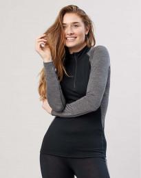 Damen Shirt mit Reißverschluss - exklusive Bio Merinowolle Schwarz