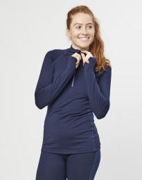 Damen Shirt mit Reißverschluss - exklusive Bio Merinowolle Navy